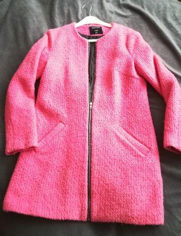 Różowy (prosty fason) płaszcz damski rozmiar M z dodatkiem wełny