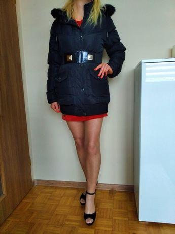 BAJECZNA kurtka zimowa damska czarna płaszczyk kaptur futerko L GRATIS