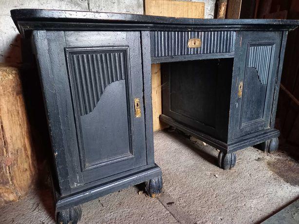 Zabytkowe stare biurko czarne