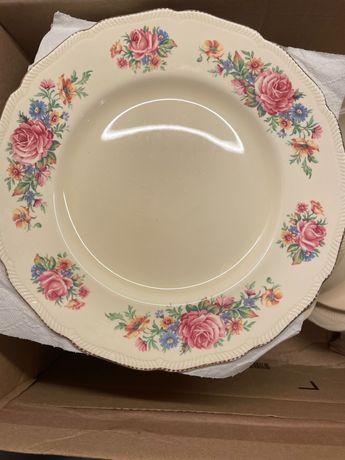 Porcelana Royal Swan 22kt zloto zestaw talerzy i mis