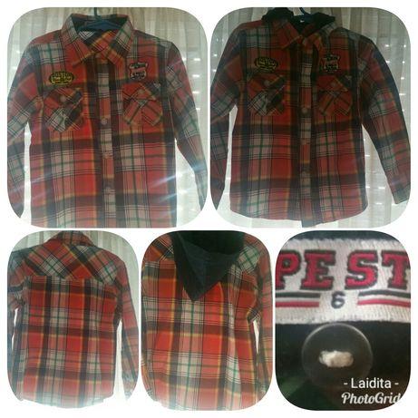 Camisa com capuz (xadrez tons de vermelho)