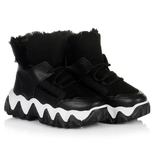 Черные женские ботинки кроссовки зимние обувь зима 36 37 38 39 40 41