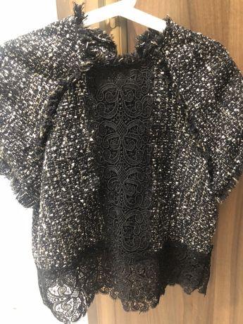 Tweedowy wełniany Top sweter zara S