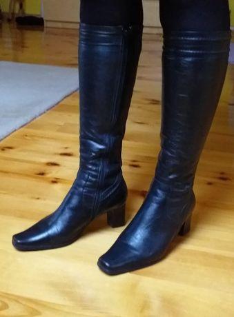 Czarne kozaki skórzane KAZAR 37 buty zimowe skóra