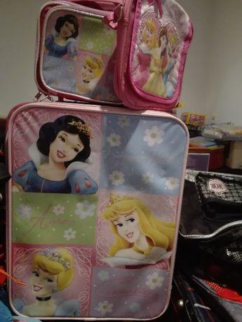 Coleção Disney Princess Mala de viagem + Carteira + Lancheira