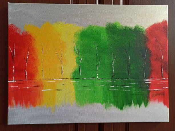 Картина лес на холсте акрил, масло