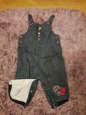 Spodnie na szelkach jeans roz 68 firmy c&a ( gratis bluzka)