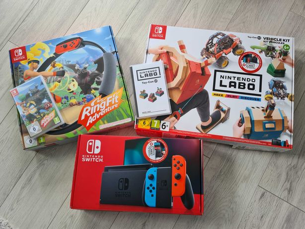 Nintendo Switch + gry Ring fit Adventure + Nintendo Labo