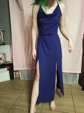 Granatowa dluga sukienka