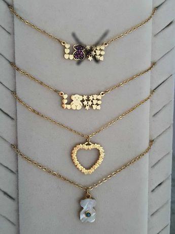 Lindíssimos colares em aço prateado/dourado