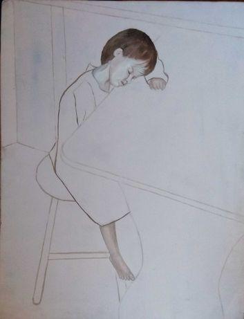Obraz olejny na płycie portret minimalistyczny portret dziecka