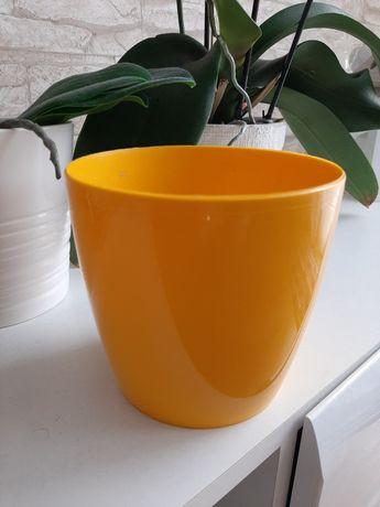Doniczka osłonka do doniczki żółta do kwiatów 1,5 litra storczyk ideał
