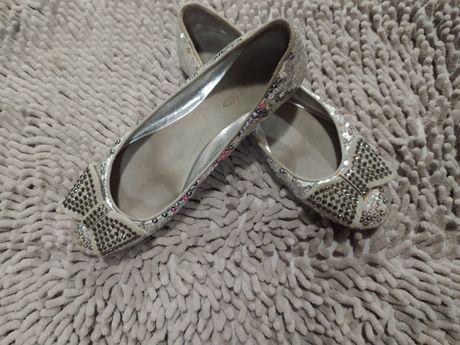 Серебряные туфли балетки Vario итальянские натуральная кожа