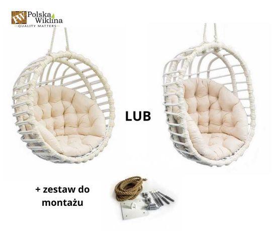 Fotel wiklinowy wiszący Huśtawka KOKON biała + poduszka 2 kolory