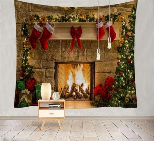 Tło fotograficzne święta kominek Boże Narodzenie