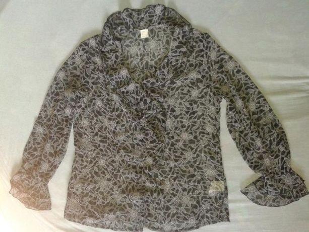 Bluzka mgiełka przejrzysta czarno-biała r. 40 nowa