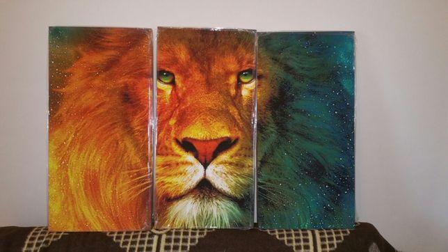 Quadro em Tela tripartida Leão