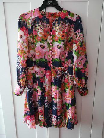Zjawiskowa unikat sukienka vintage kwiaty różowa guziki S