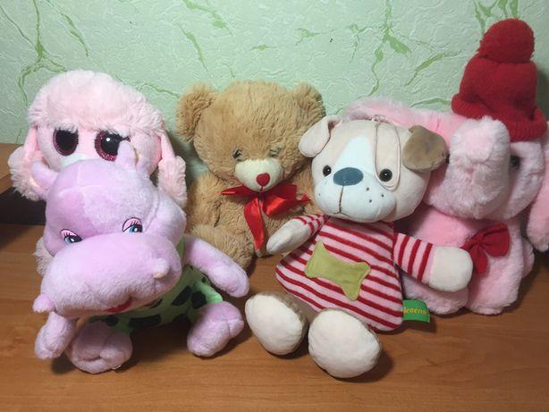 Качественные мягкие игрушки собачка, мишка, слоник, бегемотик