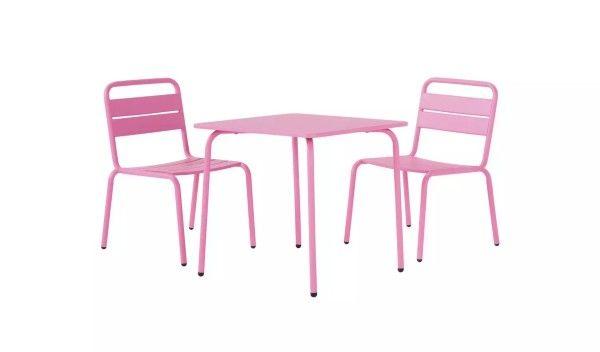Metalowe bistro krzesła stół dla dzieci różowe