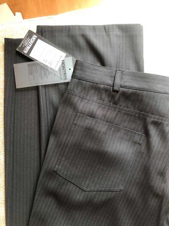 Eleganckie czarne spodnie męskie w prążek prosta nogawka 188 pas 94