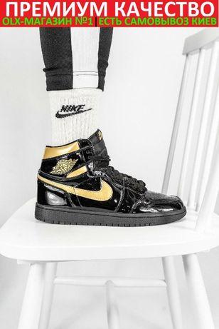Кроссовки Nike Air Jordan 1 Retro Black\Gold баскетбольные крсівки