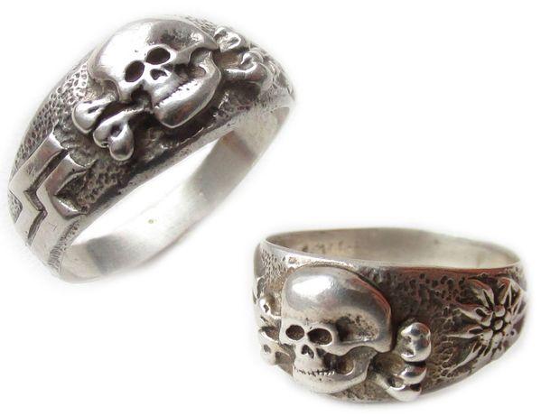 РЕЙХ кольцо печатка горных егерей эдельвейс waffen SS ваффен СС серебр