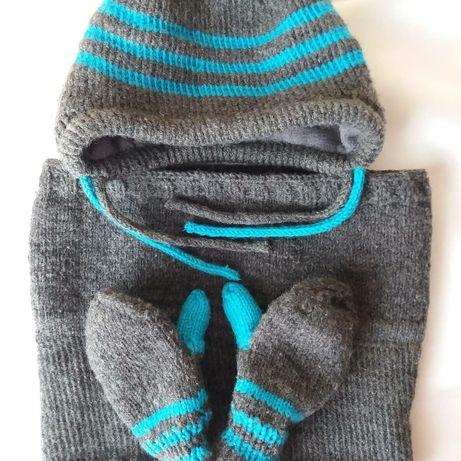 Зимний комплект шапка+снуд+ варежки