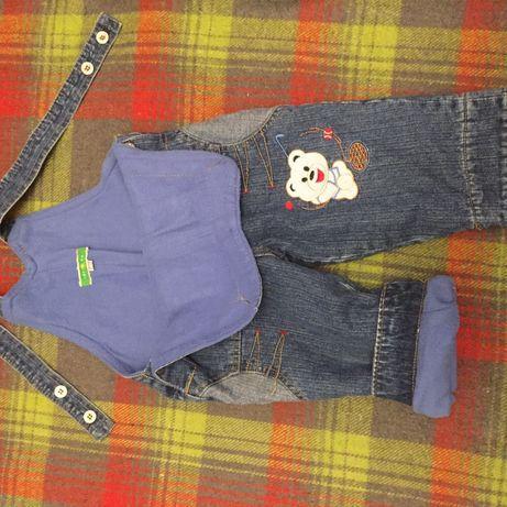 Детский комбинезон джинсовый на флисе (тёплый)