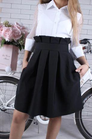 Школьная юбка-сарафан черная (р. 158 )