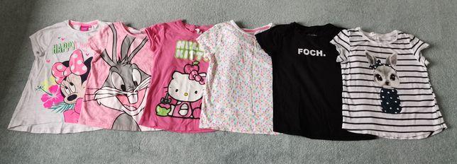 Koszulki_krótki rękaw, dziewczęce 6szt.  r. 110-116