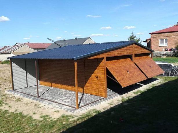 Garaż drewnopodobny PREMIUM 6x6 + wiata