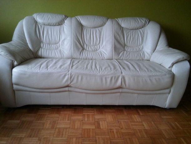 Sofa skórzana + 2 fotele i podnóżek