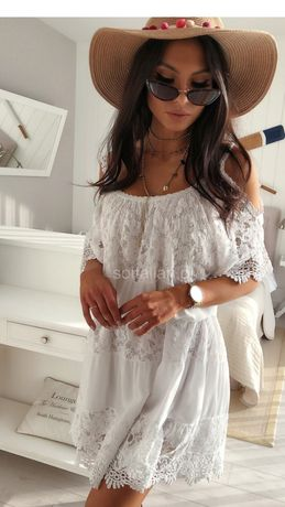 Sukienka włoska boho biała ze wstawkami z koronki