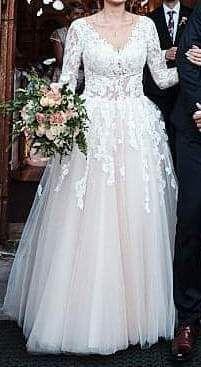 Suknia ślubna Maggio Ramatti model Kasey koronka długi rękaw