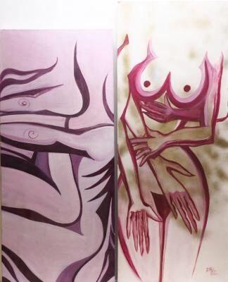Par 2 Pinturas Óleo e Acrílico sobre Tela D. F. Teix 2012