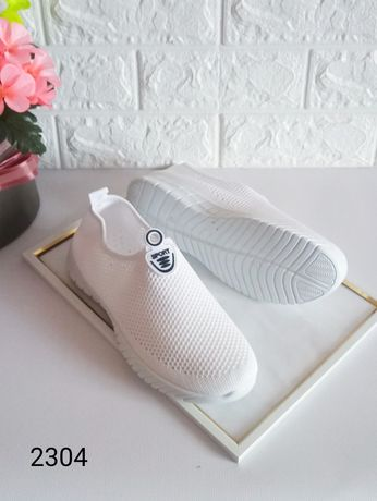 Легкие текстильные тканевые белые женские кроссовки