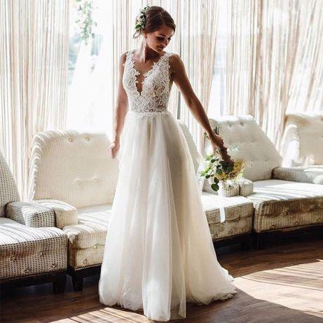 suknia ślubna koronka odpinany tren 34, 36, 38 M, 40, 42, 44, 46