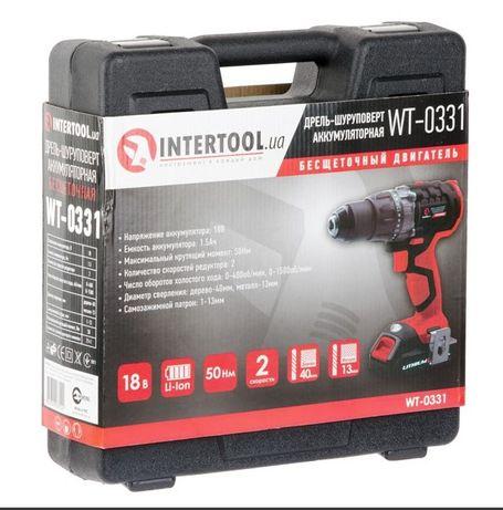 Шуруповерт бесщеточный аккумуляторный, 2 аккумулят. INTERTOOL WT-0331