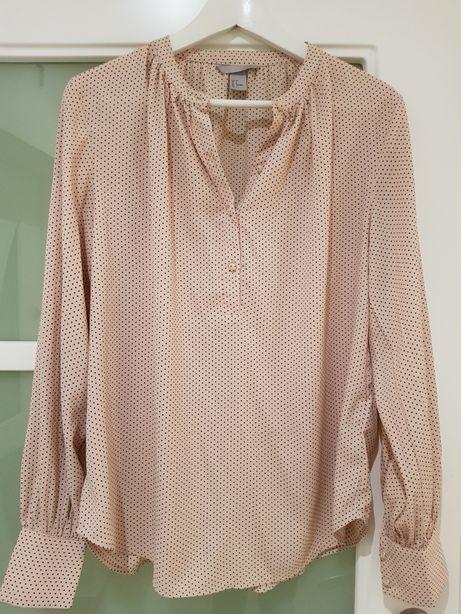 H&M trend nowa piękna bluzka kropki róż 36 38