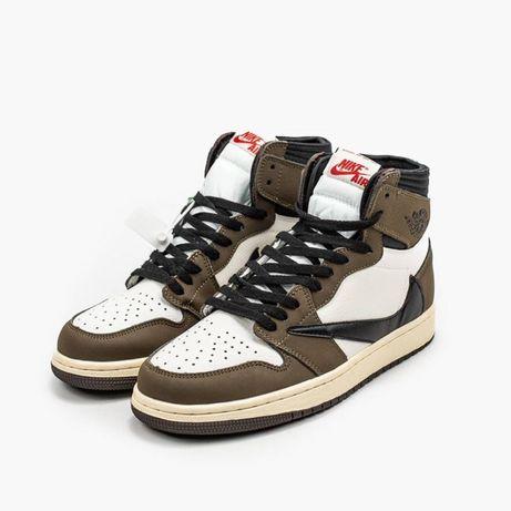 Кроссовки Nike Air Jordan 1 Brown White 36-45 / Найк Аир Джордан