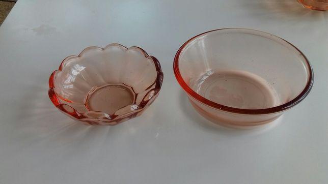 Miseczki/salaterki - szkło różowe
