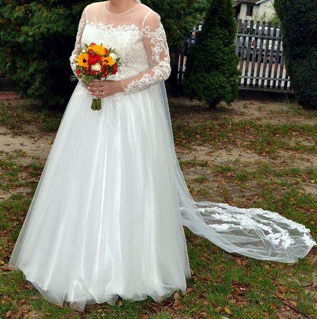 Suknia ślubna z Hiszpanii Plus Size 46/48/50 ivory + gratisy