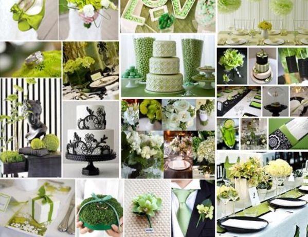 Ślub wesele dekoracja kolor zielony