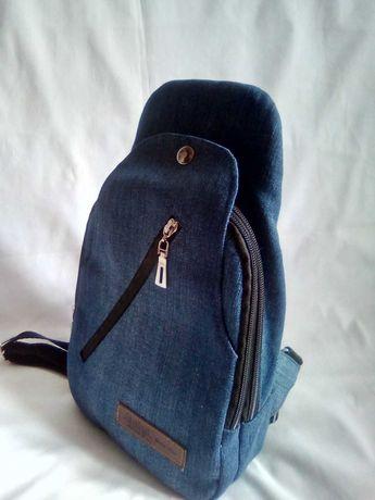 Мужской нагрудный джинсовый рюкзачок