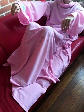 Koc z rękawami różowy