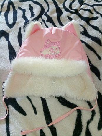 зимняя шапочка котик кот шапка девочке мех розовая красивая милая