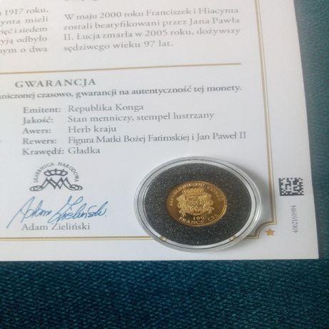 Złota moneta 100franków Kongo 1gr.999.Certyfikat.