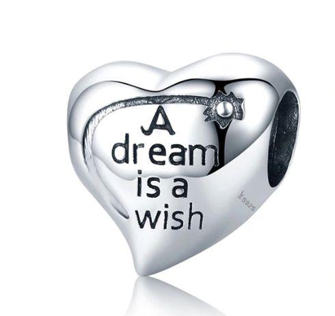 Charms PANDORA srebro 925 marzenie życzenie serce
