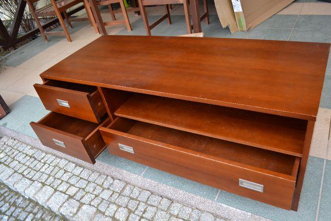 drewniana szafka rtv, Forte, szuflady, brązowa